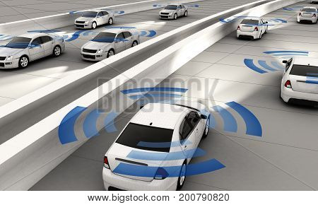Autonomous cars on a road with visible connection 3d Rendering