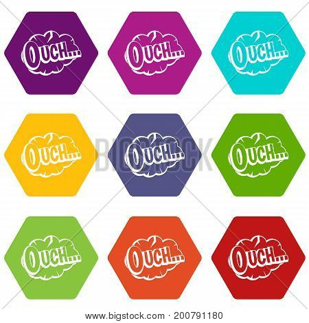 Ouch, speech cloud icon set many color hexahedron isolated on white vector illustration