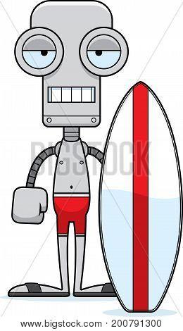 Cartoon Bored Surfer Robot