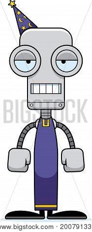 Cartoon Bored Wizard Robot