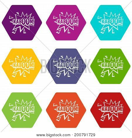 Kaboom, explosion icon set many color hexahedron isolated on white vector illustration