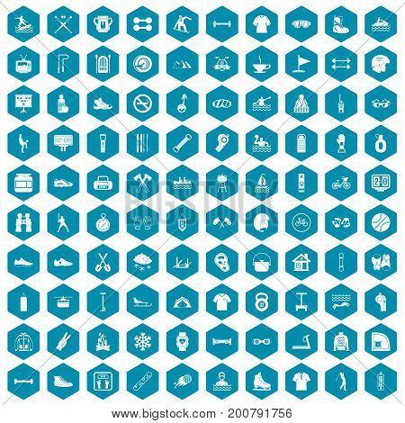 100 sport life icons set in sapphirine hexagon isolated vector illustration