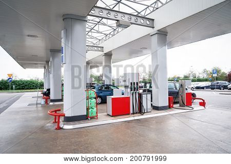 View of gas petrol station with cars