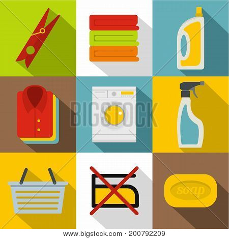 Washing clothes icons set. Flat set of 9 washing clothes vector icons for web with long shadow