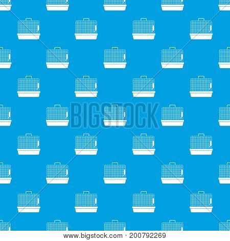 Cage for birds pattern repeat seamless in blue color for any design. Vector geometric illustration