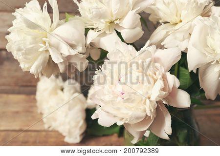 Beautiful bouquet of peonies, closeup