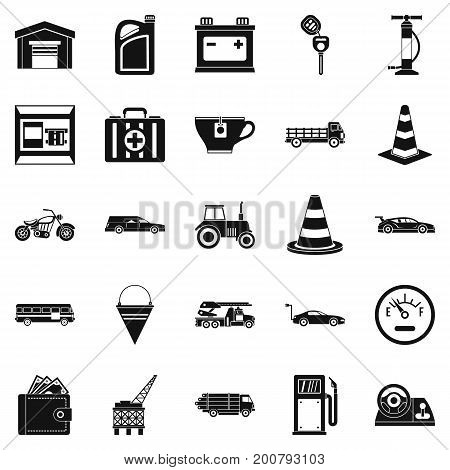 Petrol station icons set. Simple set of 25 petrol station vector icons for web isolated on white background