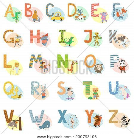 Cartoon cute animals alphabet letter vector set for children school, preschool education. English language