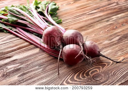 Bunch of young beets on table