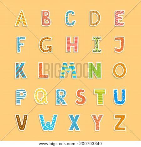Vector fun hand drawn kid alphabet upper letters set