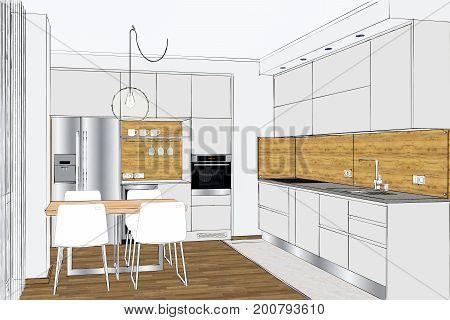 3D rendering. Modern creative kitchen design in light interior.