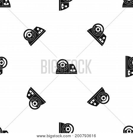 Computer steering wheel pattern repeat seamless in black color for any design. Vector geometric illustration