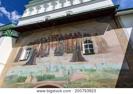 Fresco painting on the wall of the Gate Church in the Sergiev Posad Monastery (Trinity Lavra of St. Sergius). Sergiev Posad, Moscow region, Russia.
