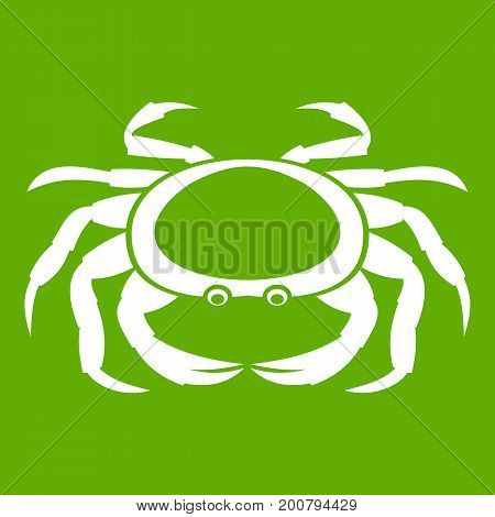 Seafood crab icon white isolated on green background. Vector illustration