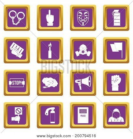 Protest icons set in purple color isolated vector illustration for web and any design
