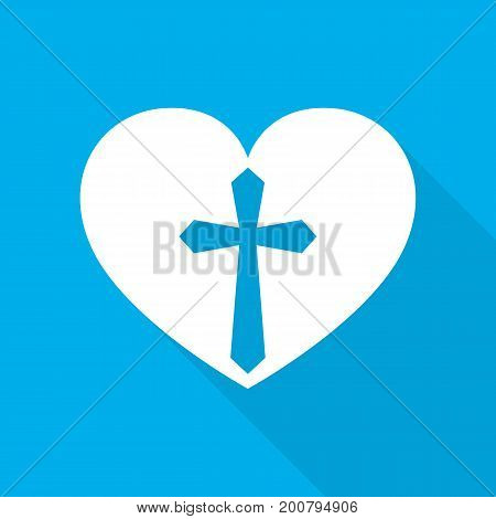 Heart with Christian cross. White heart with long shadow on blue background. Vector illustration. Christian symbol.