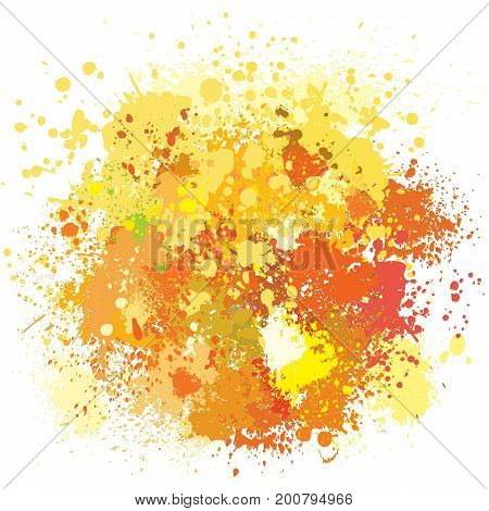 Color background of paint splashes in yellow tones