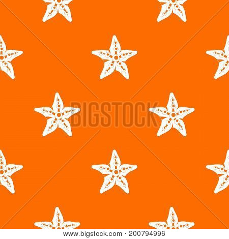 Starfishpattern repeat seamless in orange color for any design. Vector geometric illustration