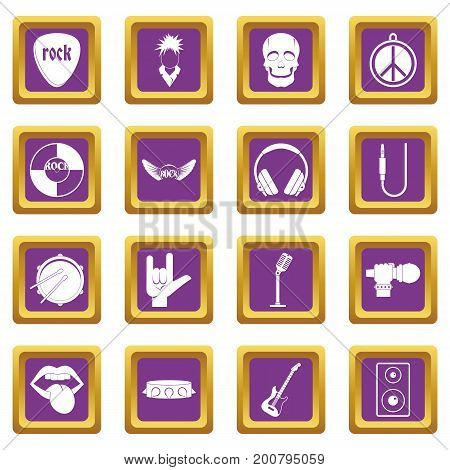 Rock music icons set in purple color isolated vector illustration for web and any design
