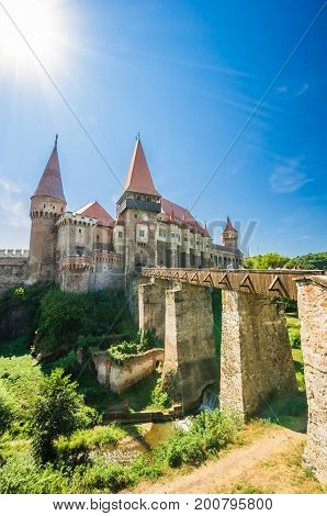 Corvin Castle, Hunedoara, Transylvania, Romania. Hunyad Castle was laid out in 1446. Castelul Huniazilor in romanian.