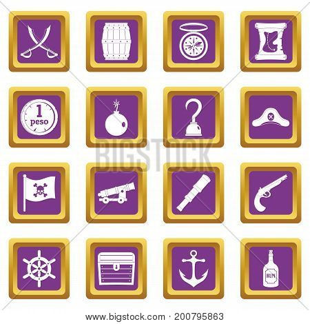 Pirate icons set in purple color isolated vector illustration for web and any design