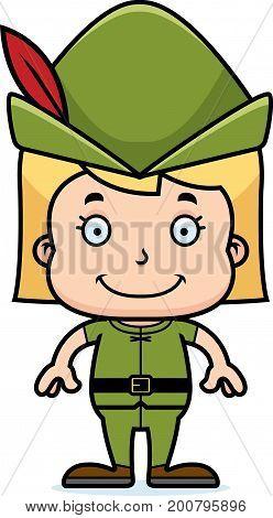 Cartoon Smiling Robin Hood Girl