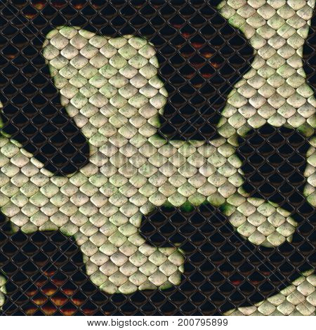 snake squared black and white skin seamless texture 3D rendering
