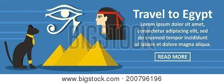 Travel to egypt banner horizontal concept. Flat illustration of travel to egypt banner horizontal vector concept for web