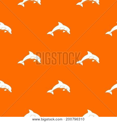 Jumping dolphin pattern repeat seamless in orange color for any design. Vector geometric illustration