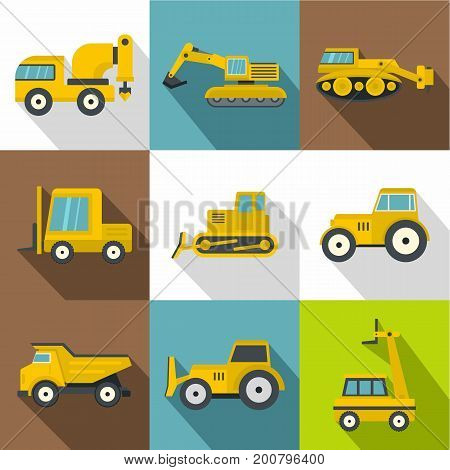 Different construction machinery icons set. Flat set of 9 different construction machinery vector icons for web with long shadow