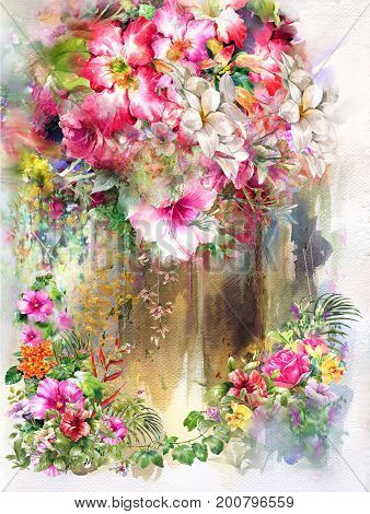 Abstract colorful flowers watercolor painting. Spring multicolored in nature