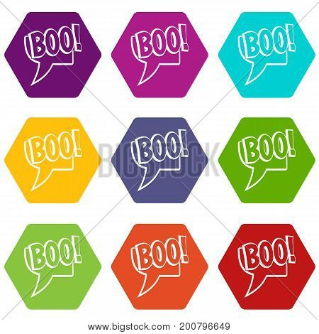BOO, comic text speech bubble icon set many color hexahedron isolated on white vector illustration