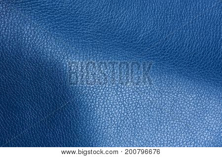 Dark Blue Artificial Leather Texture With Shadows
