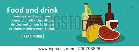 Food and drinks argentina banner horizontal concept. Flat illustration of food and drinks argentina banner horizontal vector concept for web