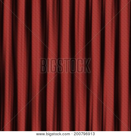 wavy squared red curtain seamless with shadows 3D rendering