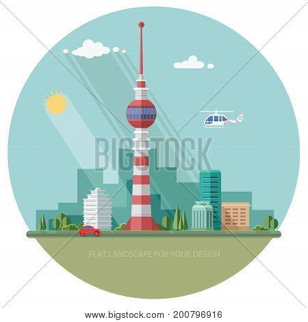TV tower. Mass media. cityscape. Flat style vector illustration.