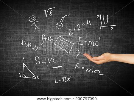 Symbols of the school. Educational concept. Illustration of educational concept. Back to school concept.
