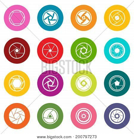 Photo diaphragm set. Simple illustration of 16 photo diaphragm vector icons many colors set isolated on white for digital marketing