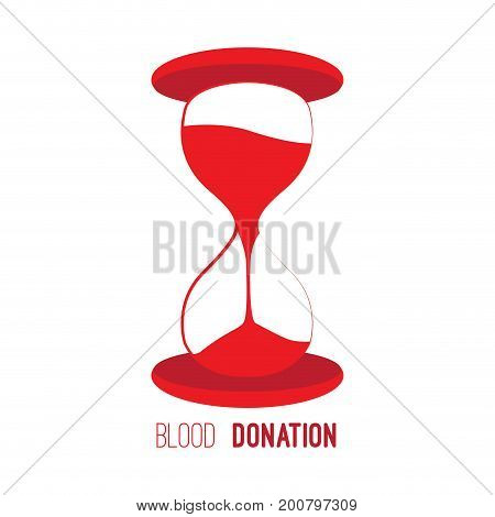 Isolated red sand watch, Blood donation, Vector illustration