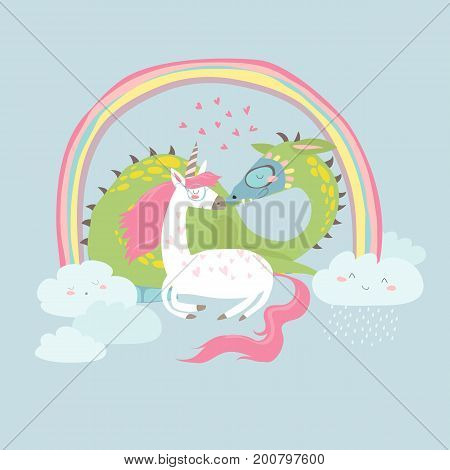 Cute cartoon dragon with unicorn. Vector illustration