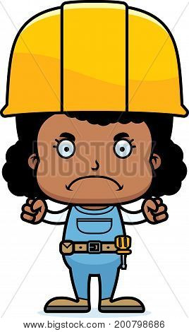 Cartoon Angry Construction Worker Girl