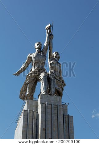 MOSCOW, RUSSIA, JULY 23, 2017: Famous Soviet monument  Laborer and Kolkhoznik,  Moscow, Russia