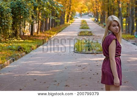 girl dressed in a dress on the autumn alley