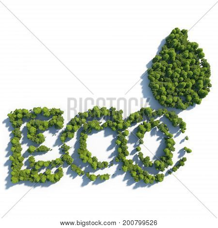 3d rendering ultra high quality. Eco icon from small trees with drop shadow on white background. Modern minimalistic icon in green colors. View from above