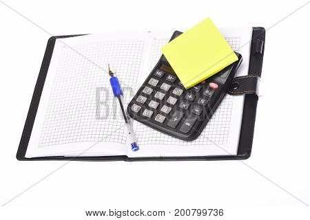 Leather Covered Notebook With Calculator On Top