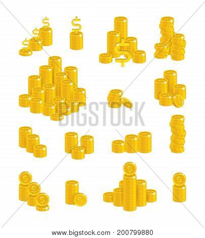 Slides gold dollars isolated cartoon set. A lot of slides and piles of gold dollars and dollar signs for designers and illustrators. Gold stacks of pieces in the form of a vector illustration