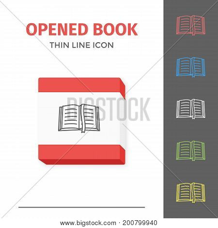 Thin lined learning book icon. Vector isolated on white outlined sign of opened book in top view.