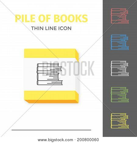 Thin lined learning book icon. Vector isolated on white outlined sign of pile of different closed books in front view.