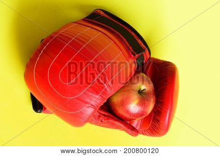 Knock Out And Healthy Nutrition Concept. Sport Equipment