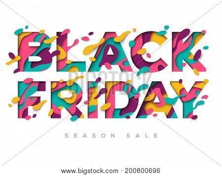 Black Friday Sale Poster with abstract paper cut shapes on white background. Vector illustration. Typographic design for season sale